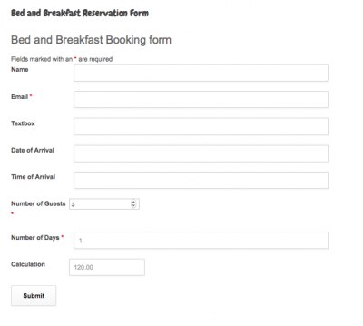 Request for Service Reservation Form for Business