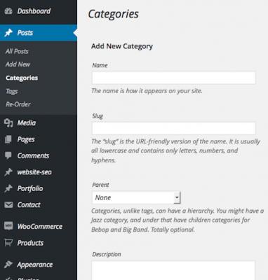 add Categories in wordpress