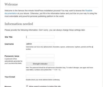 wordpress famous five minute install screen ireland