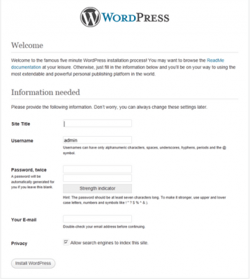 wordpress famous five minute install screen ireland